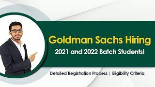 2021 & 2022 Batch Goldman Sachs Engineers Campus Hiring Program | How to Apply ?
