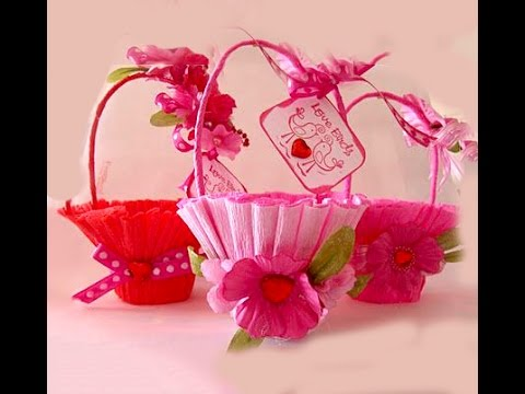 Basket For Sweets Easy And Rich Gift Wrap Valentine39s Basket Youtube