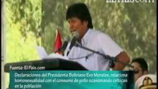 """Nota acerca de las declaraciones del presidente Evo Morales """"Comer pollo te vuelve homosexual"""""""
