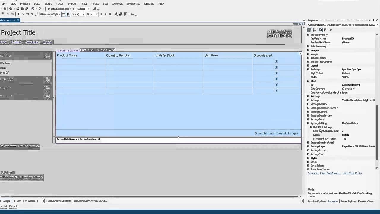 DevExpress ASP NET: Batch Editing in the Grid