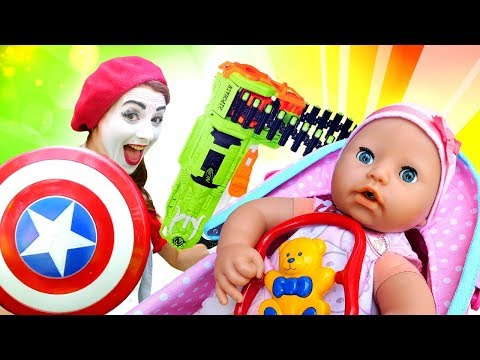 funny-clowns-try-to-make-a-baby-doll-laugh:-family-fun-videos
