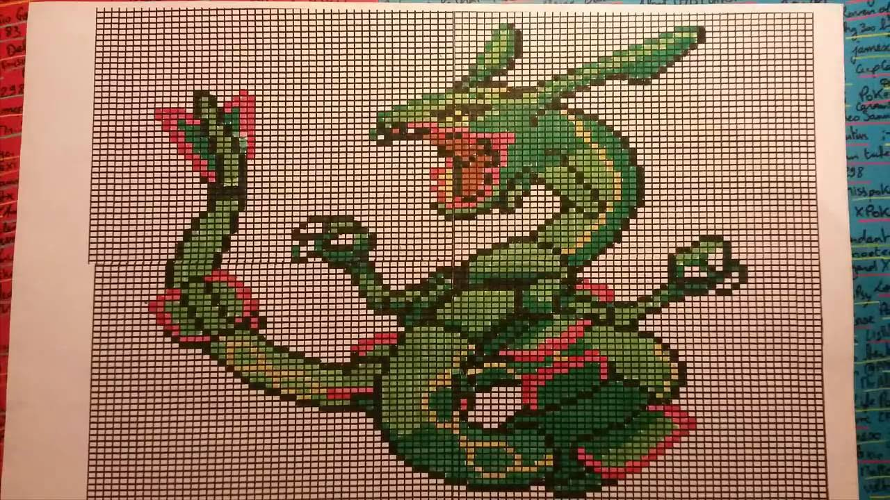 Pixel Art Pokémon Let's Draw! RAYQUAZA - YouTube - Pixel Pokemon Legendaire