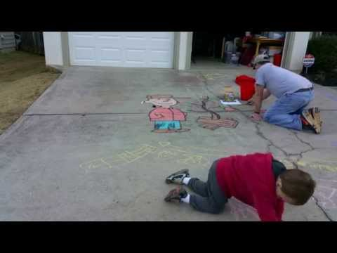Time Lapse Sidewalk Chalk Drawing of Charlie Brown Christmas