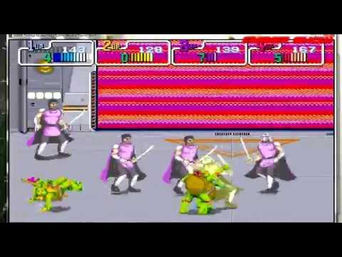 Gameplay TORTUGAS NINJA clasico Arcade 1989 4 jugadores en el