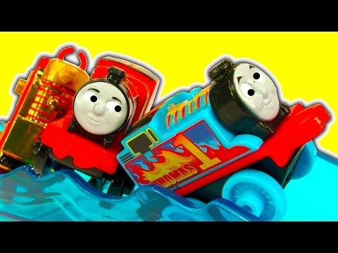 Thomas MINIS Motorized Raceway Flaming Thomas The Tank Toy Train Fun & Crashes