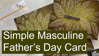 Simon Says Stamp || Tumbling Leaves Stencil Simple Masculine Father's Day Card