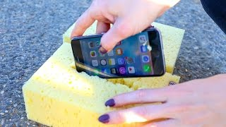 Can a Sponge Protect iPhone from EXTREME 1,000 FT Drop Test?!