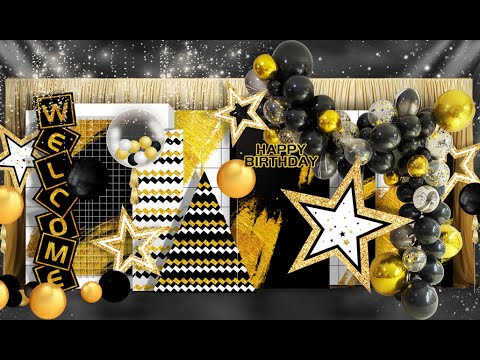 Download The Best Decoration Idea for New Year ,Birthday Party Black & Gold Balloon Garland Kit