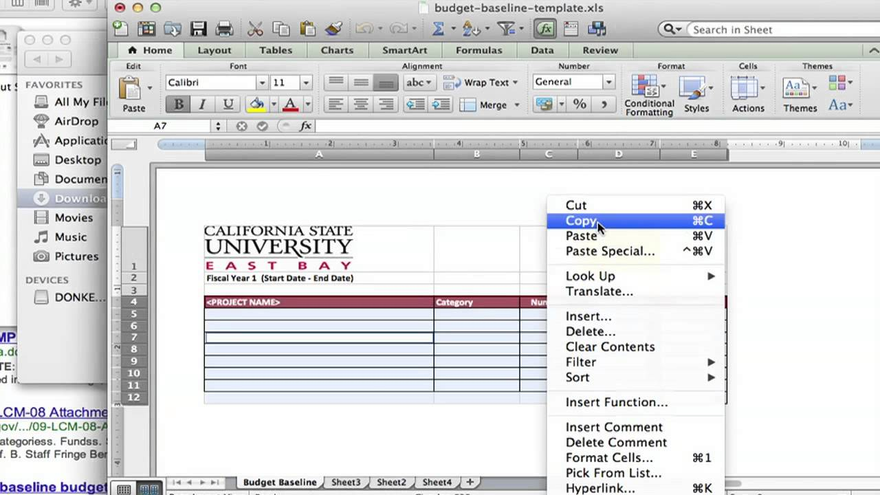 how to create a baseline budget with microsoft word using ms word