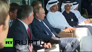 لقاء الرئيس الروسي مع الملك الأردني عبد الله الثاني وولي عهد أبو ظبي محمد بن زايد آل نهيان
