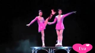 2 hotgirl Trung Quốc diễn xiếc với giày patin trên bàn nhỏ đẳng cấp nhất thế giới