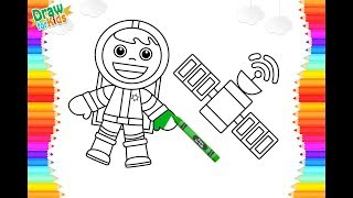 Learn draw space astronauts, and space satellites for kids