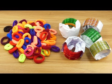 DIY Hair rubber bands & Old bangles craft idea   DIY art and craft   DIY HOME DECO