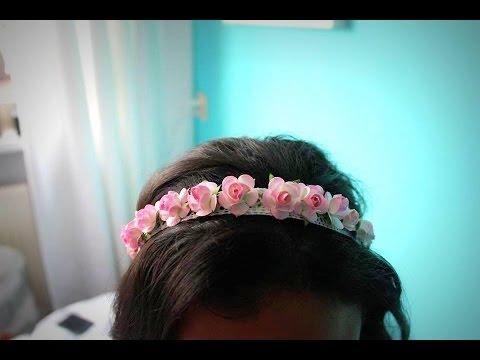 f4b8ccaa6137c اصنعي ب نفسك ربطة شعرسهلة من الورد  طوق الورد - YouTube