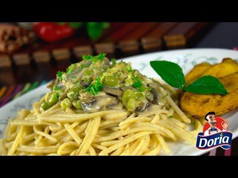 Spaghetti Integral Doria con Salsa de Champiñones y arvejas