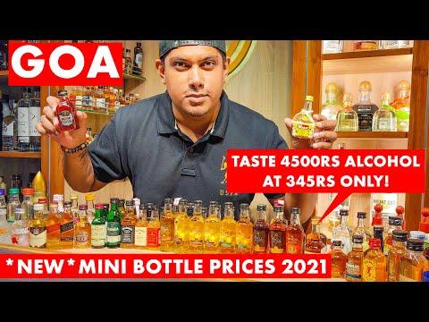 GOA | Mini Bottle Liquor Rates Goa - 2021 | From 25RS Whiskey, Vodka, Rum, Taquila, Brandy