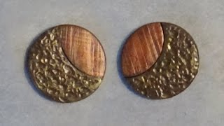 Polymer Clay Earrings - Gold and Metallic Red (for Autumn)