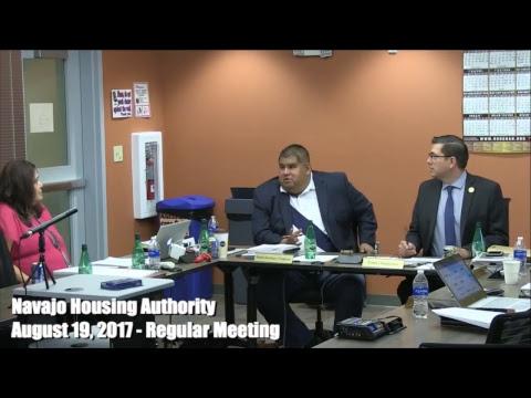 Navajo Housing Authority Regular Board meeting - August 19, 2017