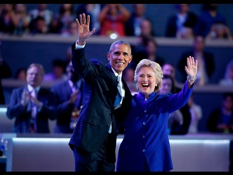 Hillary Clinton joins President Obama on stage at 2016 Democratic National Convention