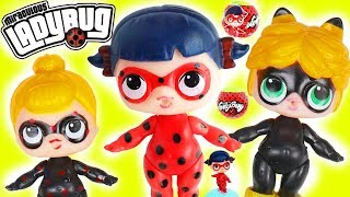 LOL Surprise Dolls Miraculous Ladybug + Cat Noir Antibug, Volpina Dress Up, Fake Vs Real LQL Toys!