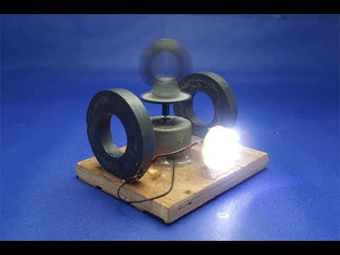 How to make free energy light bulbs generator with magnets & DC motor - experiment  at home