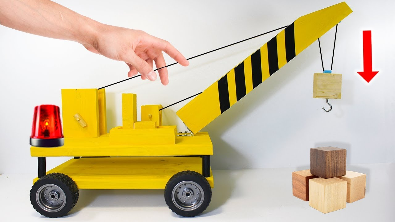 How To Make A Crane At Home Homemade Wooden Toys Youtube