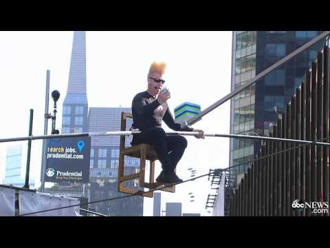 Daredevil Bello Nock Attempts World Record 8 Hours on High Wire