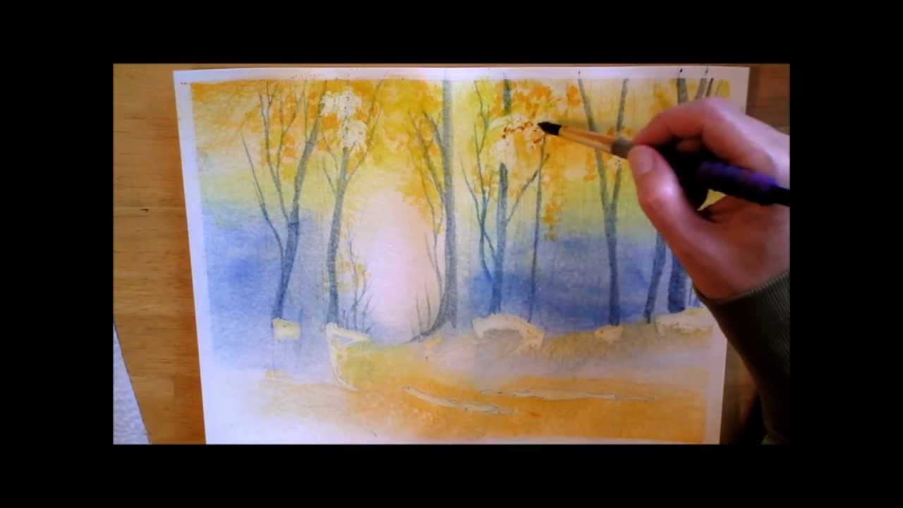 Autumn forest watercolor painting process youtube for How to paint abstract with watercolors