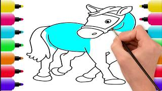 Baby Learning - How To Drawing & Coloring Horse | Kids Coloring Page