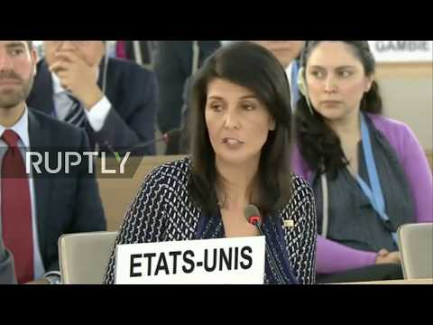LIVE: US ambassador Nikki Haley gives address during Human Rights Council