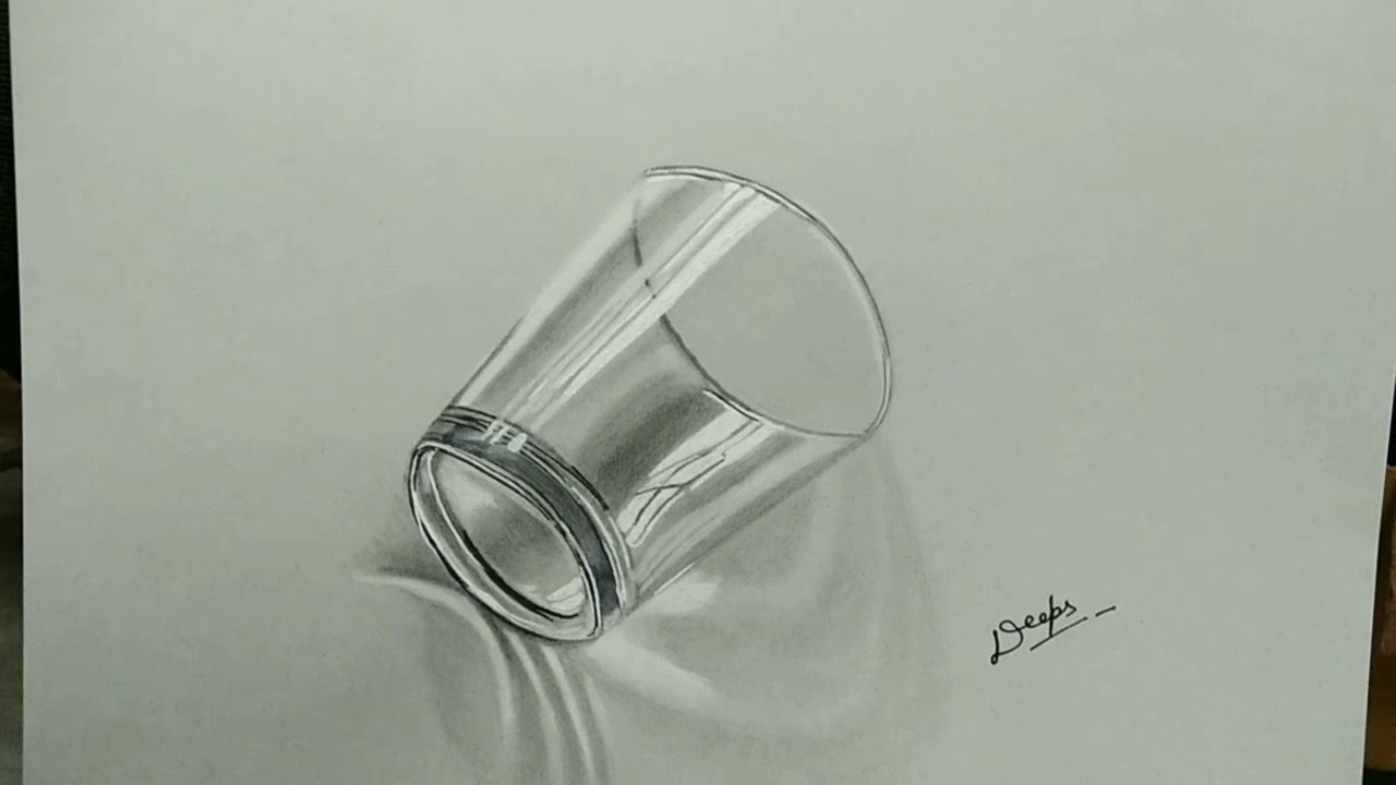 How To Draw A Simple 3d Glass Draw Water Glass 3d Illusion Sketching 3d Glass Cup Realistic Glass Youtube