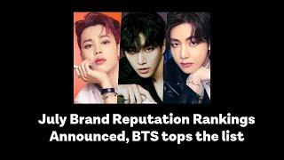 July Brand Reputation Rankings, BTS tops the list