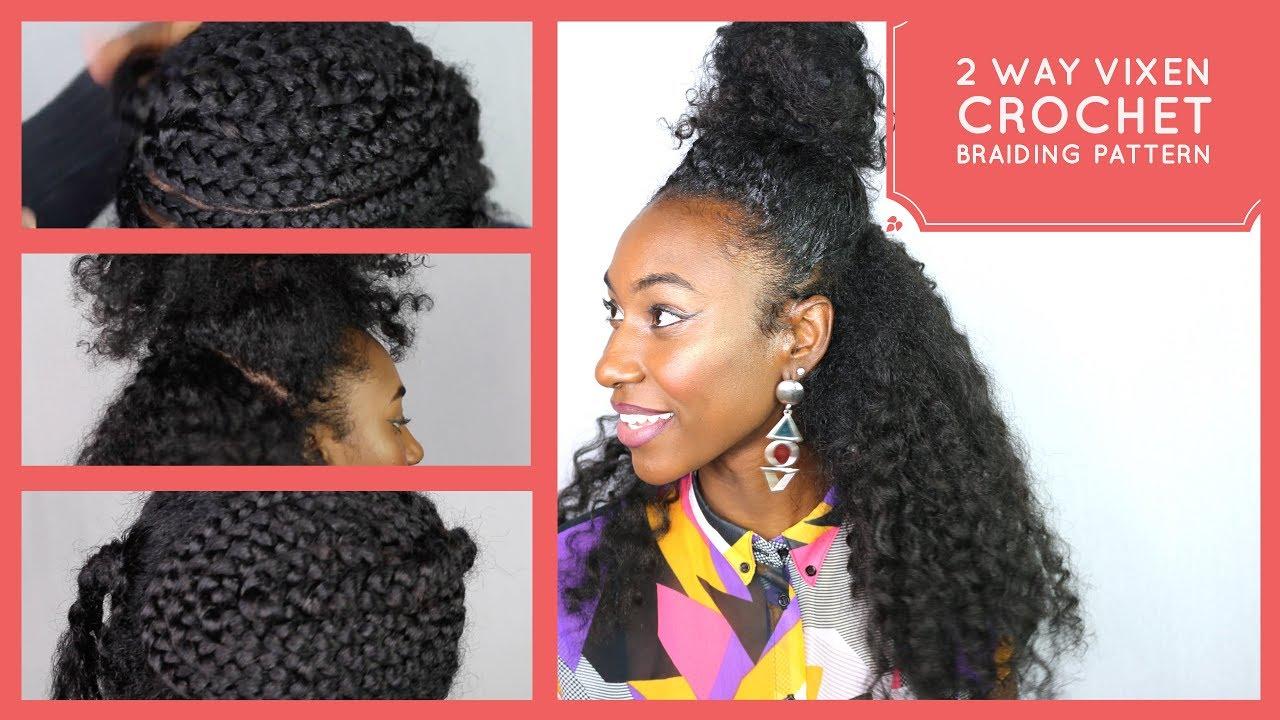 Vixen crochet braids braiding pattern (2 way part) - YouTube