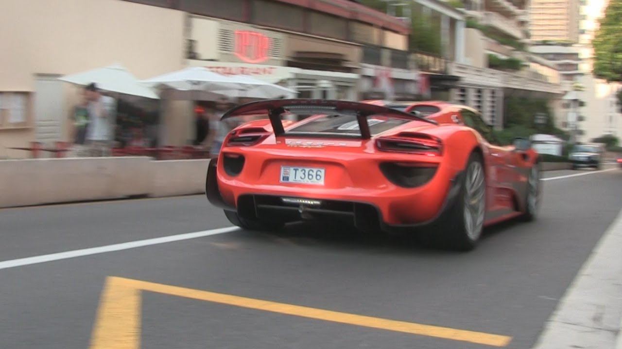 orange porsche 918 spyder in monaco driving in electric. Black Bedroom Furniture Sets. Home Design Ideas