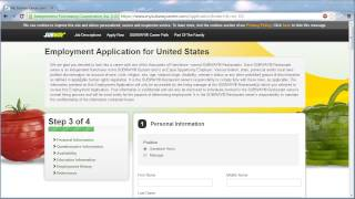 Http://www.jobapplicationsonline.com/subway-application-online/ a video walkthrough that show you how to use the subway site apply for job with o...
