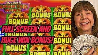 OMG! I FINALLY DID IT! FULL SCREEN-MEGA WIN & LOTS OF BONUSES-JACK'S HAUNTED WINS! screenshot 5