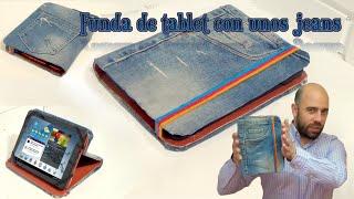 Funda para tablet utilizando unos jeans. DIY manualidades reciclando cartón y unos vaqueros thumbnail
