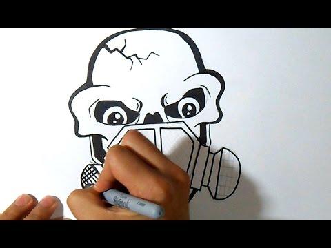 cmo dibujar un Craneo con Mascara de gas Graffiti  Wizard art