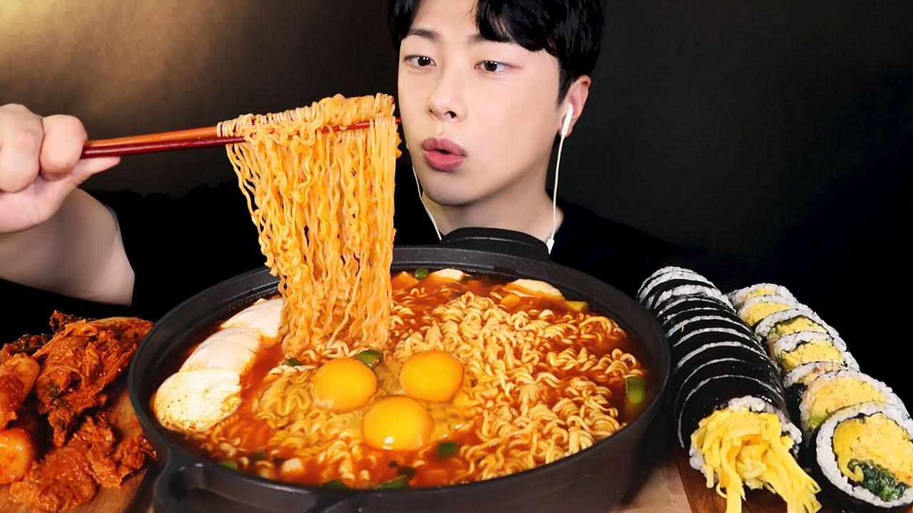 얼큰한 순두부 열라면 먹방🔥 (ft. 뒷북, 명란마요 계란김밥, 김치) Spicy Ramyeon Gimbab Kimchi Mukbang ASMR 리얼사운드