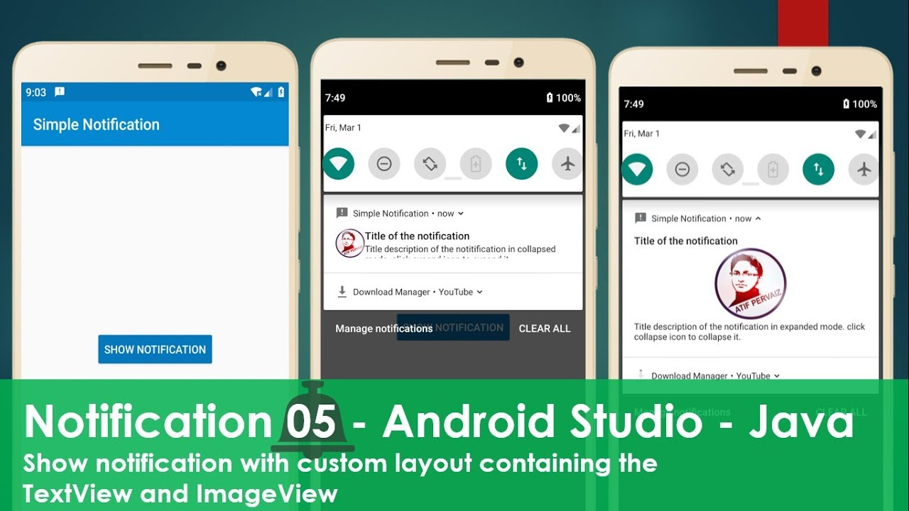 Notification with expandable custom layout