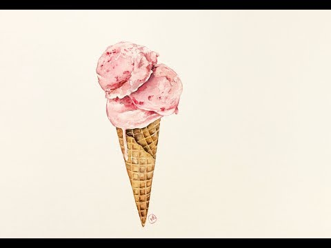 Ice Cream Cone in Watercolors Painting Demonstration