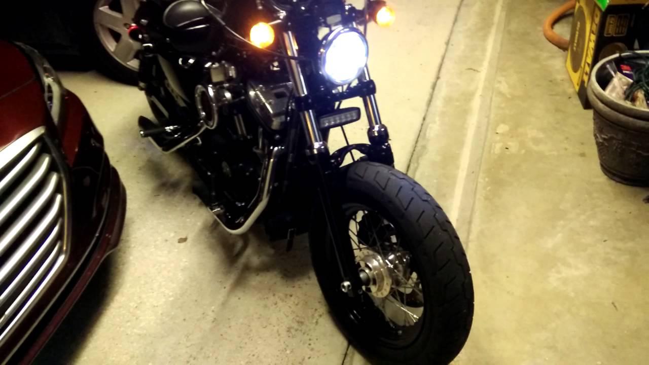 Harley davidson 2015 sportster 48 with new led headlamp and led harley davidson 2015 sportster 48 with new led headlamp and led flood light bar youtube aloadofball Gallery