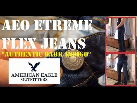 Authentic Dark Indigo American Eagle AEO Extreme Flex Original Straight Jean Mens