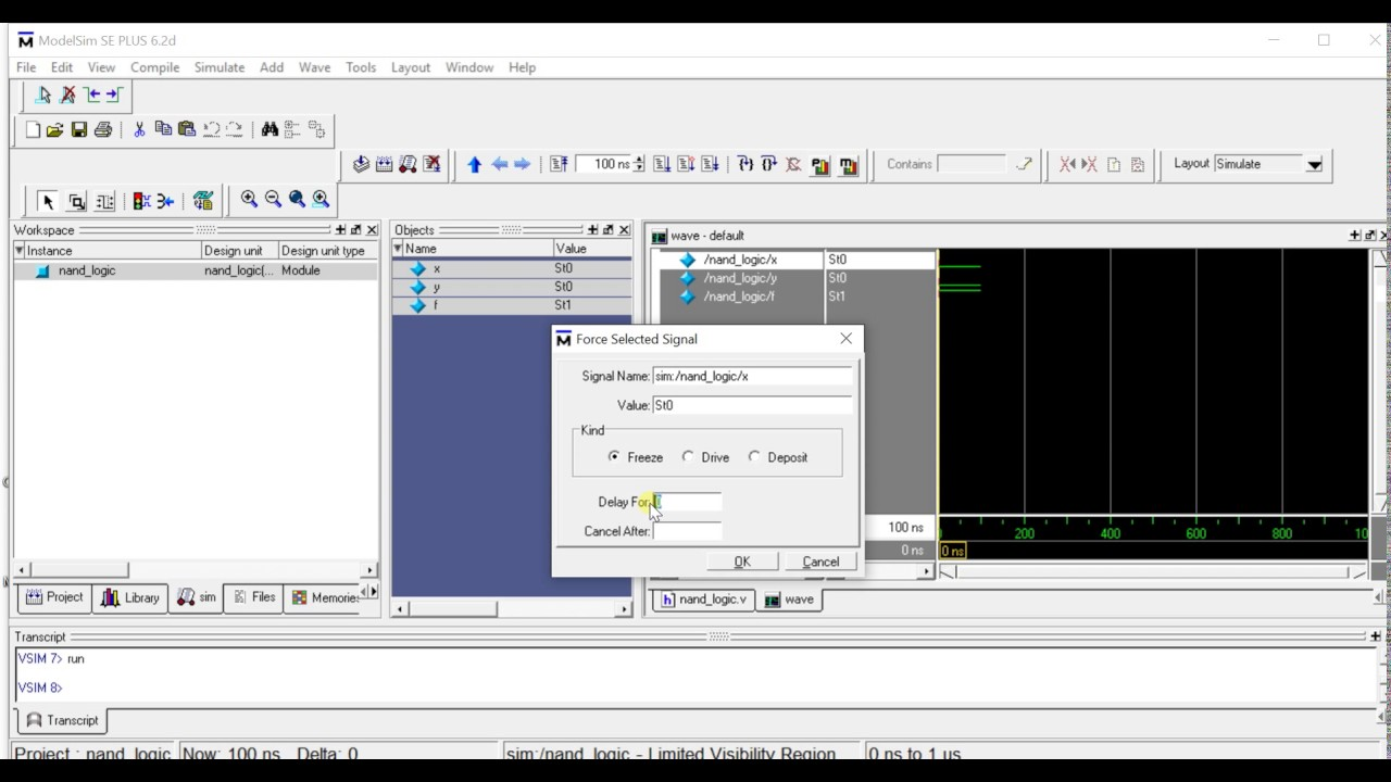 Simulation of NAND Logic Gate on ModelSim (Verilog) - YouTube