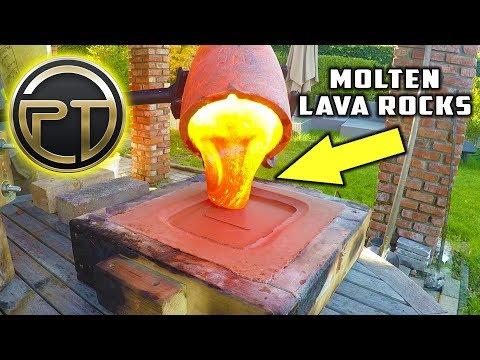 Casting  PLAYBUTTON from MOLTEN LAVA ROCKS!  Is it possible to cast MOLTEN LAVA STONES??