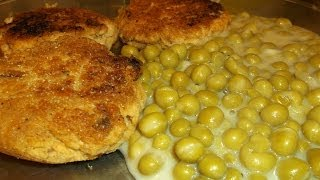Salmon Patties And Creamed Peas