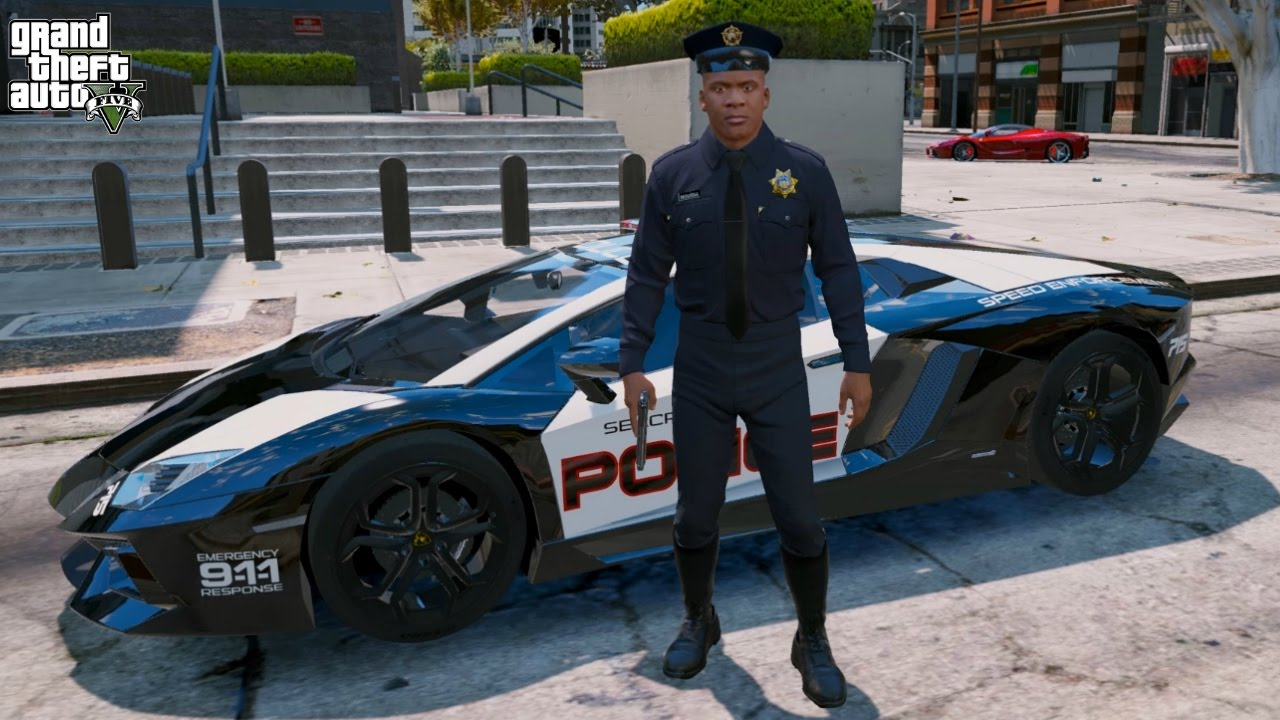 Gta 5 Franklin Play As A Cop Mod 2 Police Lamborghini