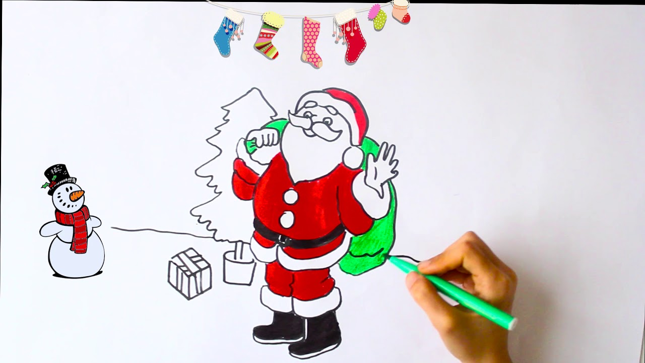 Santa Coloring And Drawing For Kids Cocuklar Icin Noel Baba