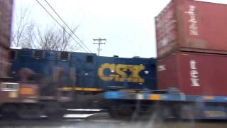 2 Big Fast CSX Trains Meet