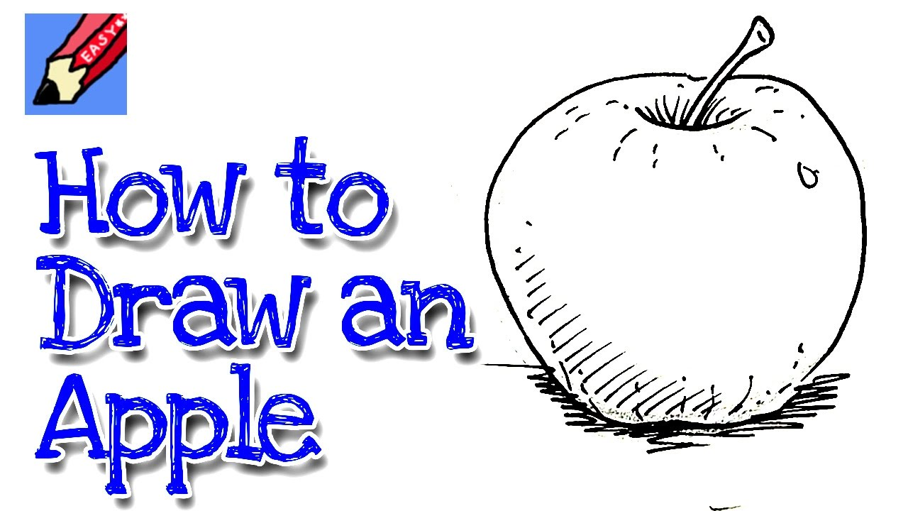 How to draw an apple real easy for kids and beginners ...